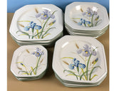 24 pc. Mikasa Blue Iris Continental Ivory Table Service for 6 - Octagonal Dinnerware - Dinner Plates, Rim Soup Bowls, Salad & Bread Plates
