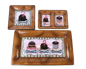 "3 Brown Pink Cafe Dessert Serving Tray Set - Friandise Ambiance Collection 16"" Rectangle Cupcake Platter, Bonbon Dish & Small Divided Tray"