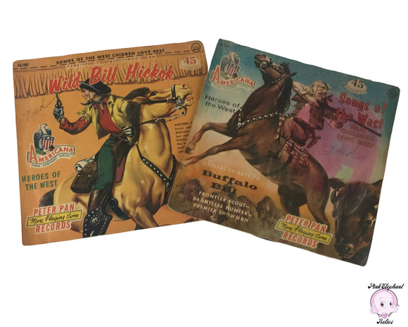 2 Vintage 1950's Americana Song Heritage Series Wild Bill Hickock & Buffalo Bill Wild West Cowboy Themed 7