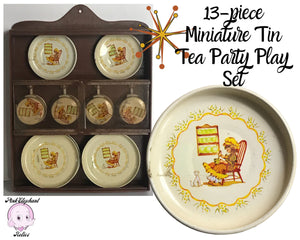 13pc Vintage Miniature Toy Tin Tea Party Play Set with Holly Hobbie Style Girl & Kitty Cat Litho Design in Wall Mounted Mini Display Cabinet