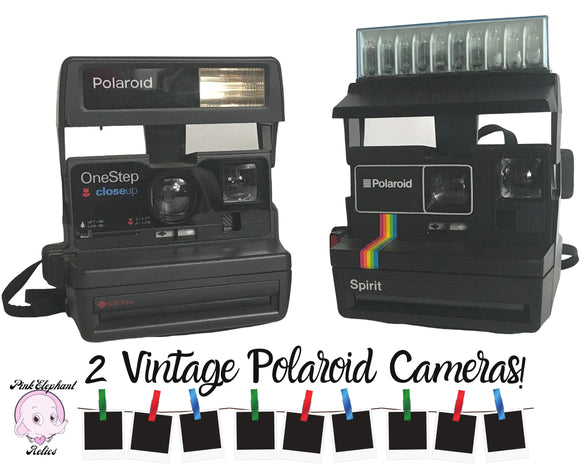 2 Vintage Polaroid Cameras 600 Film Series Untested / Polaroid Spirit Rainbow & One Step CloseUp Instant Cameras - Retro 80's Staging Props