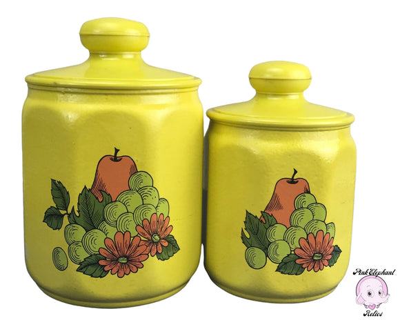 Kitschy Kromex Kitchen Canister Set in Sunshine Yellow with Botanical Fruit Motif - Pair of 1970's Vintage Lidded Metal Pantry Storage Jars