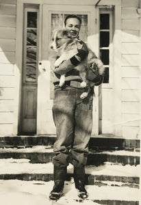 Just A Boy & His Dog - Real Vintage Photo Snapshot of a Young Man Holding Sheltie or Collie Puppy - 1950s Pet Photograph / Vernacular Photography