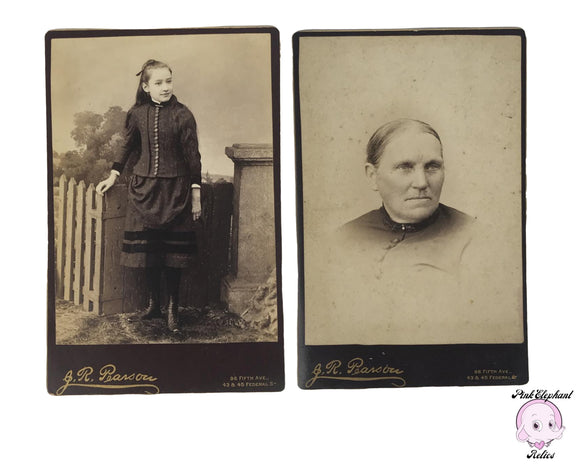 Pair of Real Antique Photographs of a Young Girl & an Old Woman 6x4 Cabinet Card Portraits by J.R. Pearson Photography in Late 19th Century