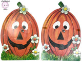 2 Matching Vintage Smiling Pumpkin Die Cut Card Paper Cutouts - MCM 60's Era Halloween Decorations - Bee & Jack-o-Lantern Diecut Cut Out Set