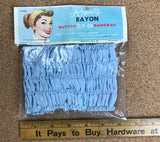 NOS 1960s Baby Blue Royalty Rayon Button Slip-On Bandeau / Adjustable Hair Turban Headband New in Package - Rare Vintage Beauty Deadstock