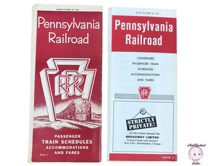 2 Original Vintage Pennsylvania Railroad Passenger Train Brochures for Schedules, Accommodations & Fares from 1964 - 1960s Travel Itinerary Pamphlets