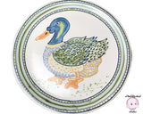 Authentic 1970's Janet Rothwoman Signed Pottery 14 in. Round Tray w/ Bohemian Farmhouse Mallard Duck Motif & Nautical Blue and Green Tones
