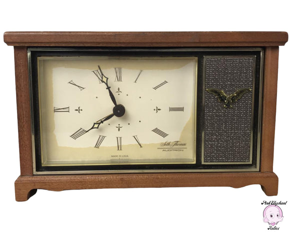1960's Seth Thomas Auditron VII Alarm Clock Very Rare - Vintage Maple Wood Case with Colonial Eagle - MCM Bedside Clocks Retro Bedroom Decor