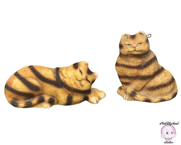 2 Vintage Fat Tabby Cat Hanging Ornaments by Enesco 1987 - Adorable Chubby Orange Striped Happy Cats - Sleeping & Sitting Kitty Figurines
