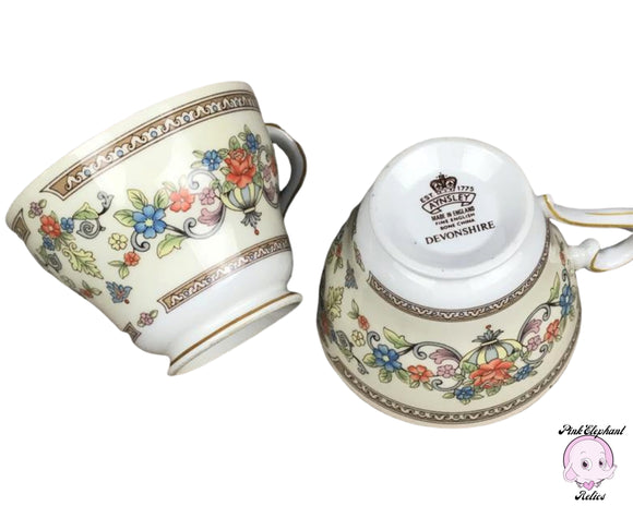 Pair of Fancy English Teacups by Aynsley of England in Devonshire Pattern - 2 Fine Bone China Tea Cups in Ivory, Gold, & Rose Floral Motif