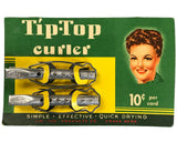 NOS 1940s Tip-Top Metal Curlers on Original Retail Display Card - Authentic WWII Era Pair of Aluminum Hair Rollers from Store Beauty Counter