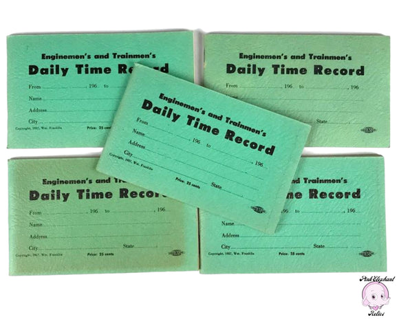 5 Blank 1950's Enginemen's & Trainmen's Daily Time Record Books for Railroad Employees - Authentic Vintage Green Train Workers Log Book Lot