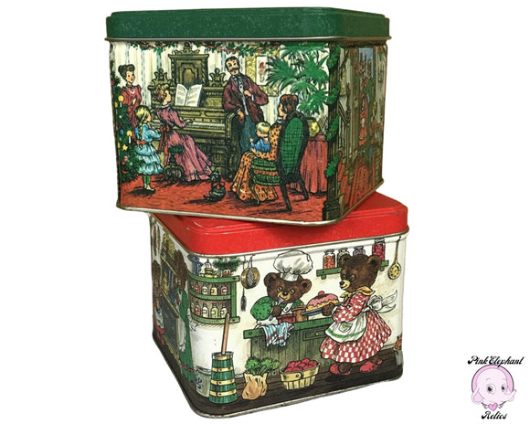 2 Adorable Vintage Christmas Tins - Red & Green Mid-Century Kitschy Holiday Tin Box Decorations - Old Fashion Family Christmas / Teddy Bears