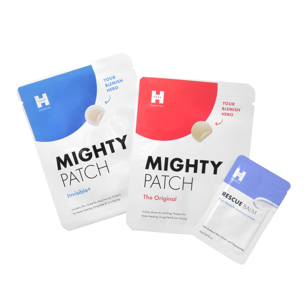 HERO COSMETICS Mighty Patch Invisible+, Mighty Patch The Original, Rescue Balm Maskne Bundle