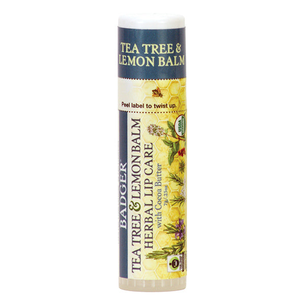 BADGER Tea Tree & Lemon Balm Herbal Lip Care