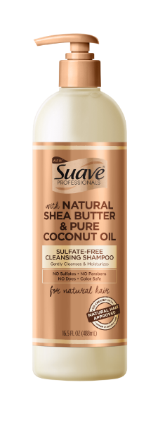 SUAVE PROFESSIONALS FOR NATURAL HAIR Natural Shea Butter & Pure Coconut Oil Sulfate-Free Cleansing Shampoo