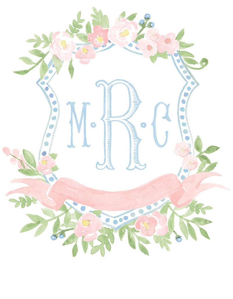 Weezie B. Designs | Custom Crest with Florals and Fishtail Center Highlight Monogram