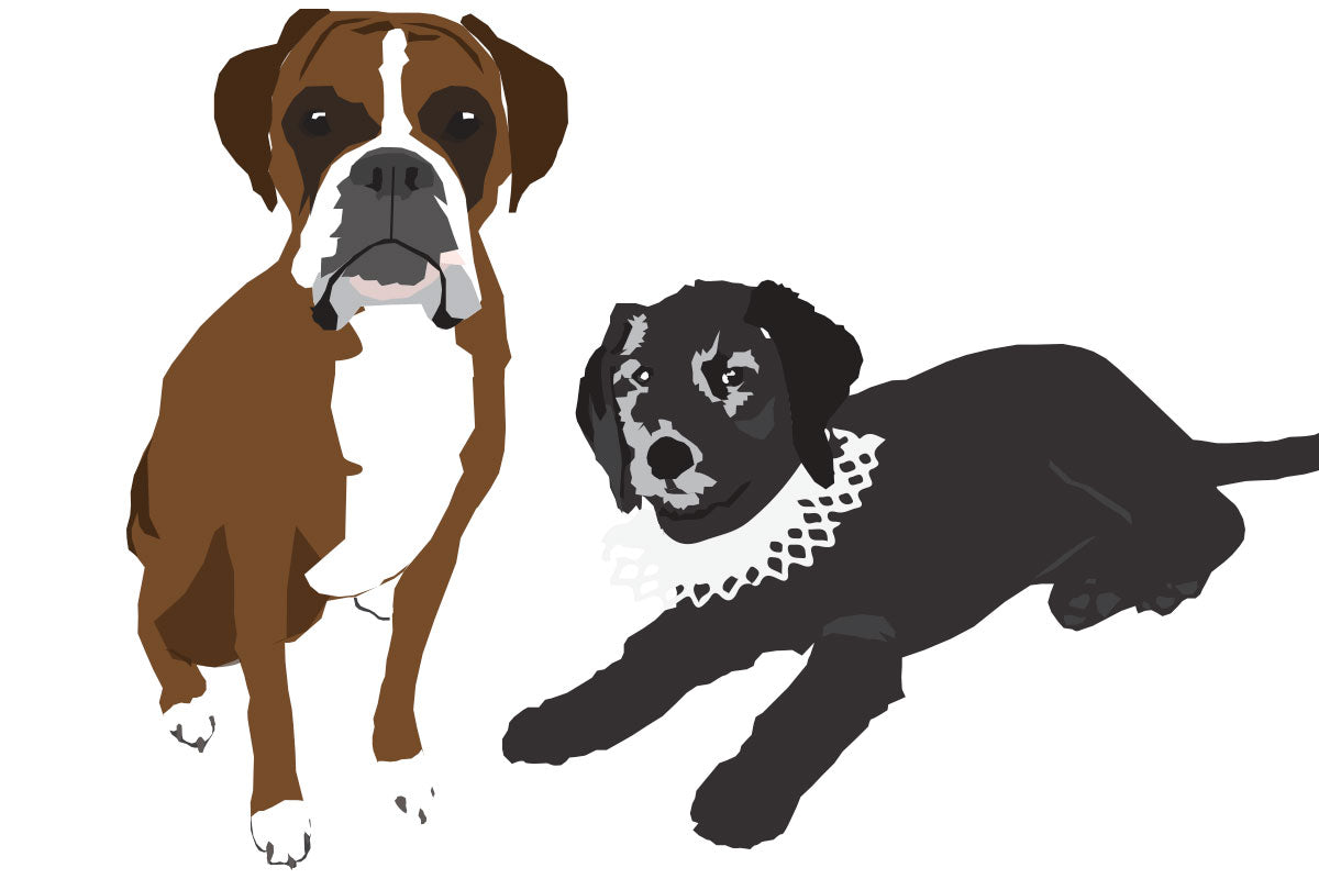 Weezie B. Designs | Graphic Illustration of Boxer and Small Black Dog
