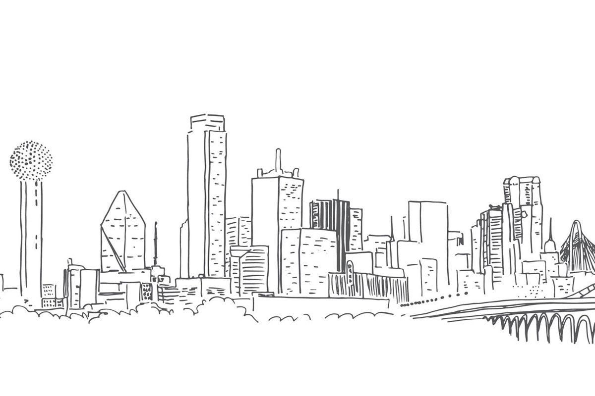 Weezie B. Designs | Sketch of Dallas Skyline for Wedding Suite