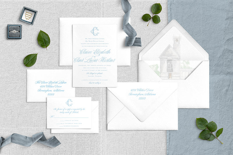 Weezie B. Designs | Custom Wedding Suite | Claire & Clint
