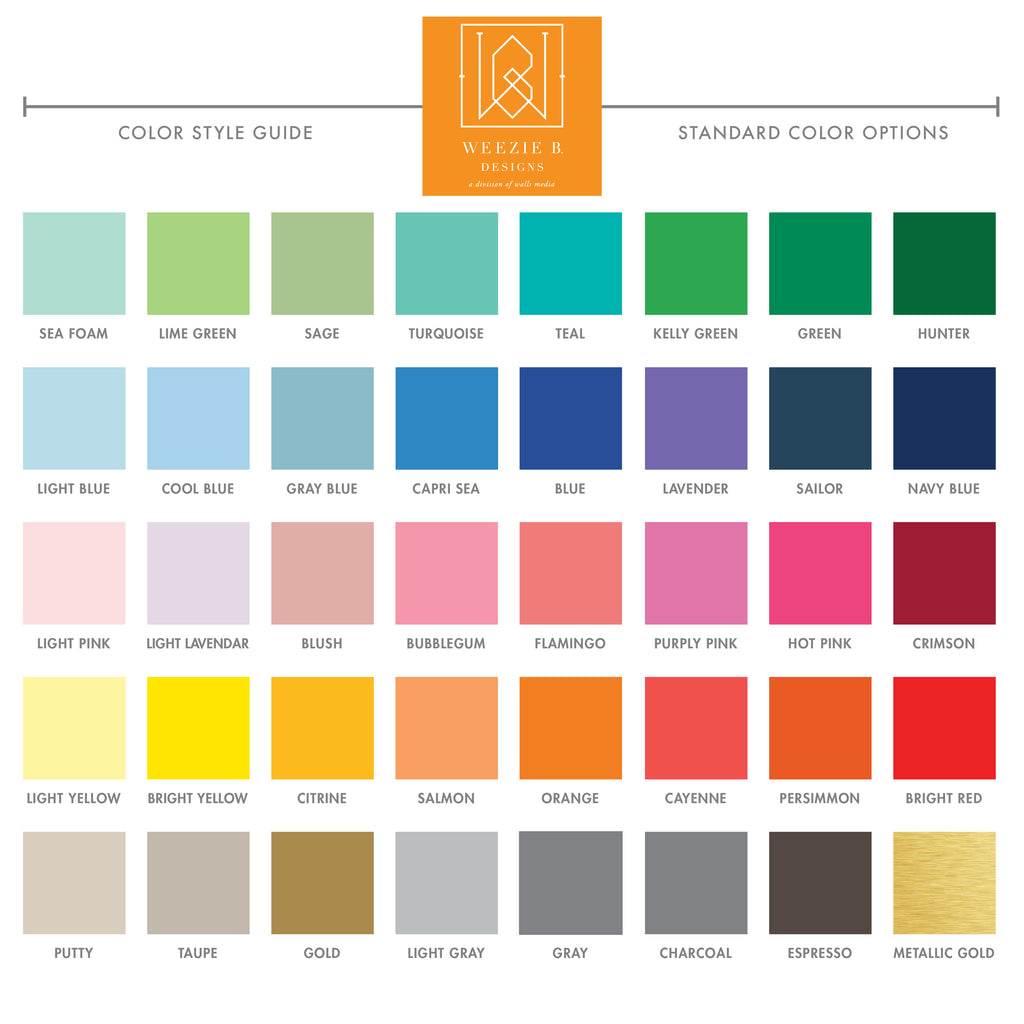 Weezie B. Designs | Style Guide Standard Color Options