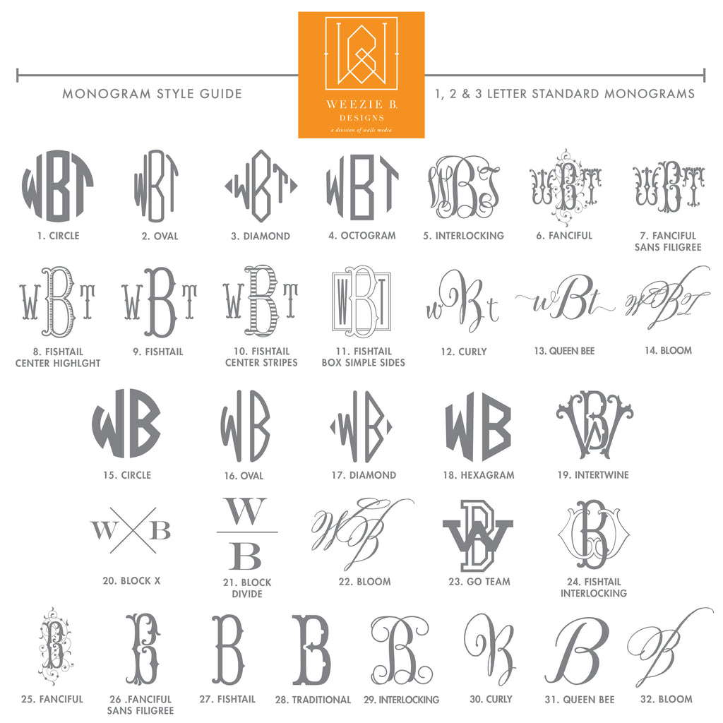 Weezie B. Designs | Style Guide Standard Monogram Options