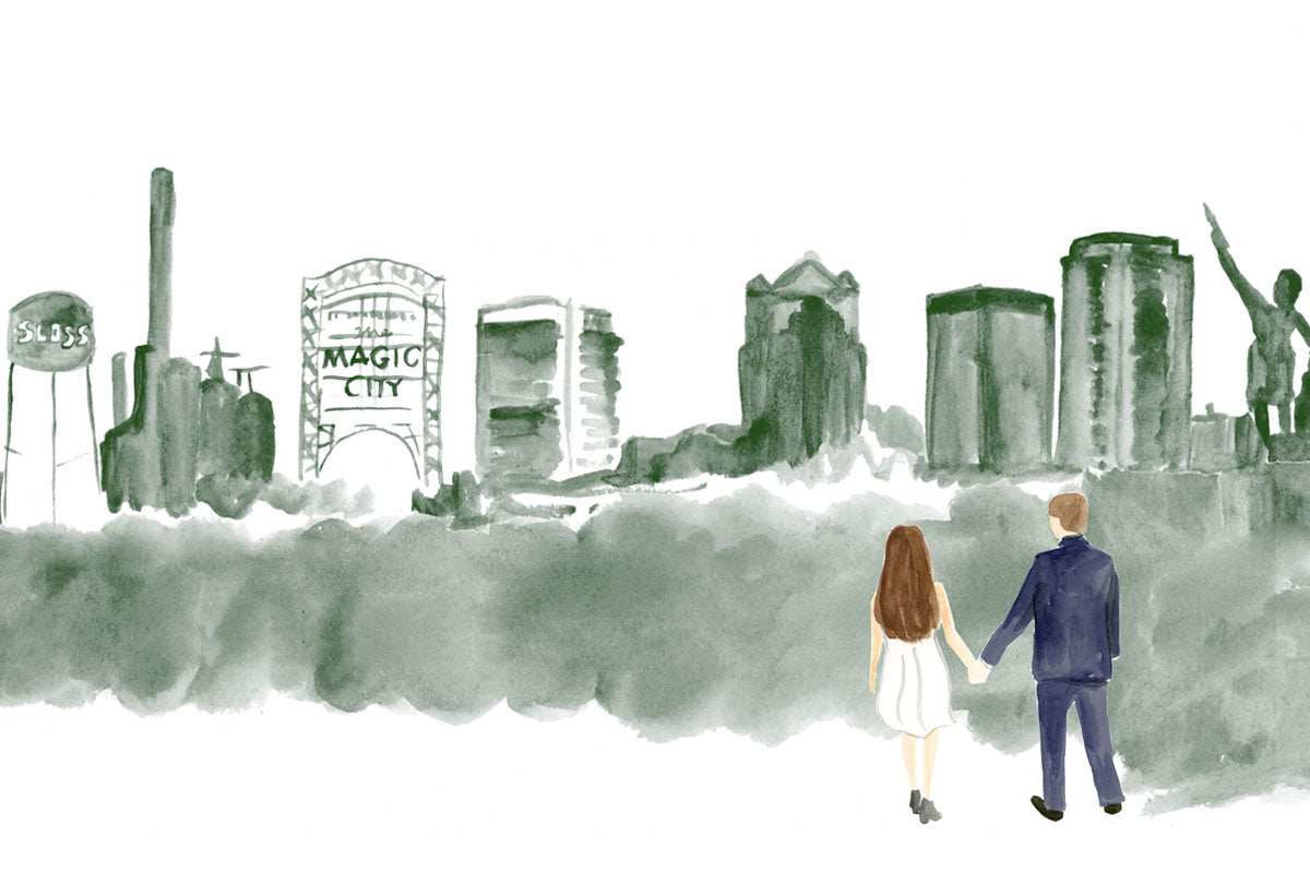 Weezie B. Designs | Watercolor Skyline of Birmingham and Couple for Save the Date