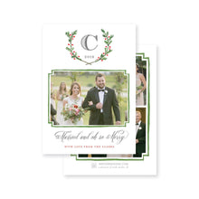 Load image into Gallery viewer, Weezie B. Designs | Evergreen Laurel with Monogram Christmas Card