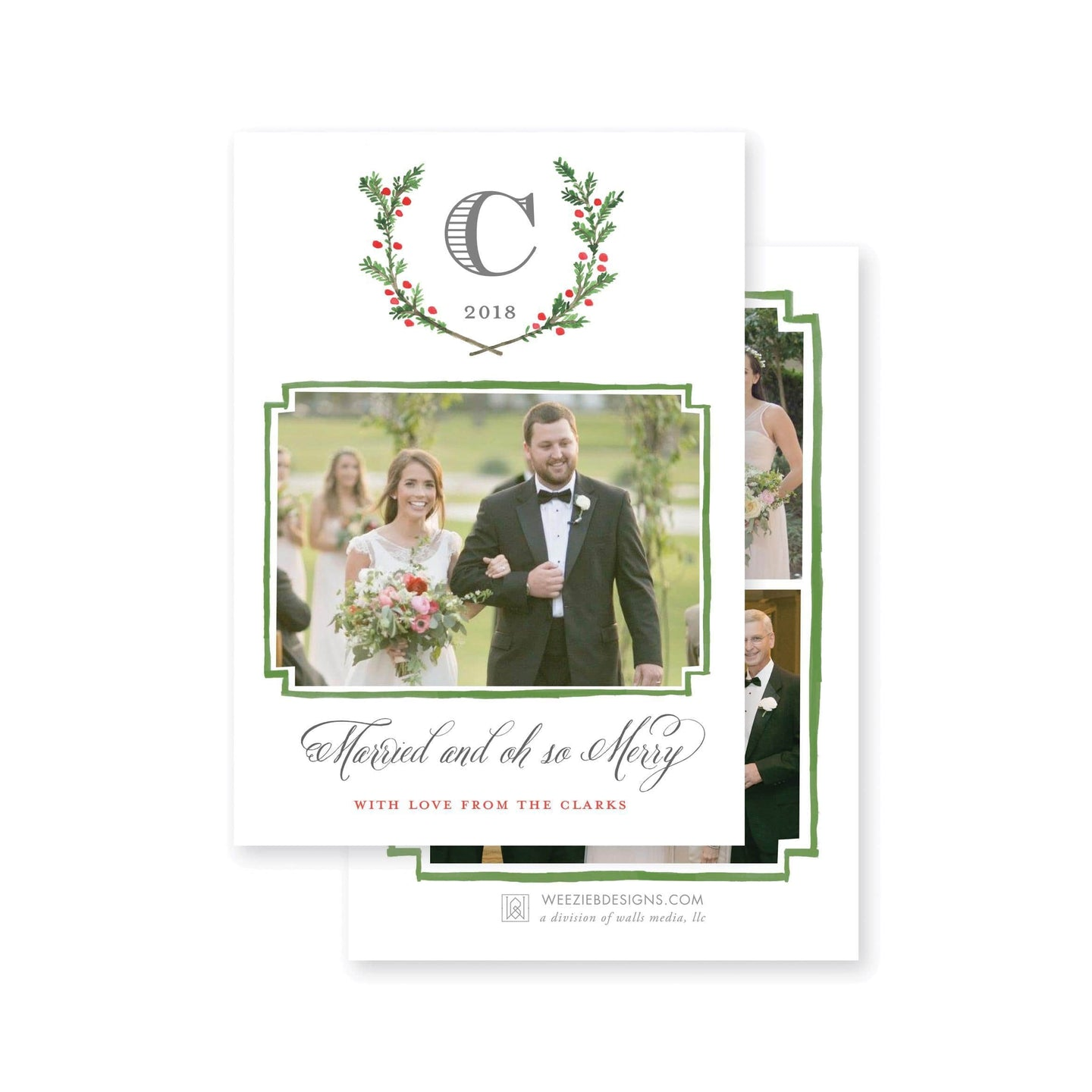 Weezie B. Designs | Evergreen Laurel with Monogram Christmas Card