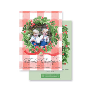 Evergreen Wreath on Red Gingham