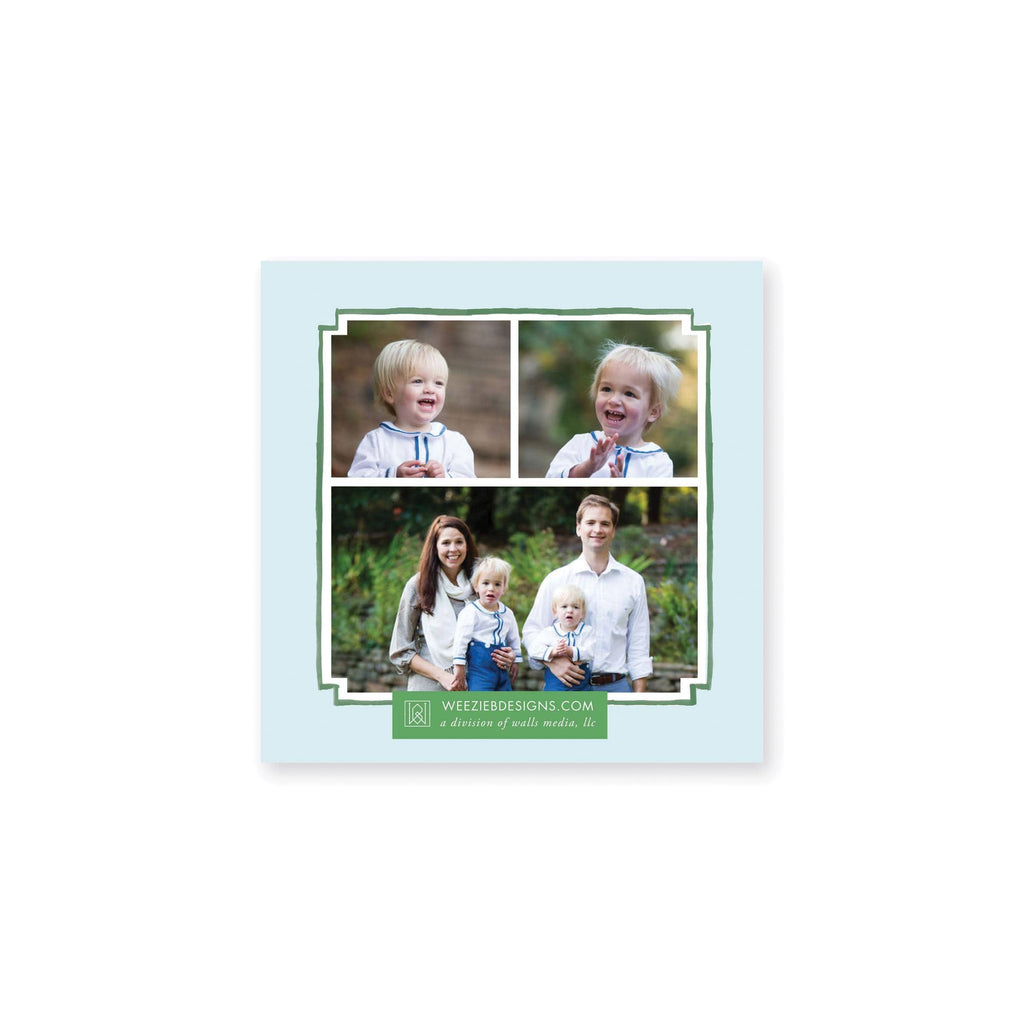 Weezie B. Designs | Evergreen Wreath on Blue Gingham Square Christmas Card