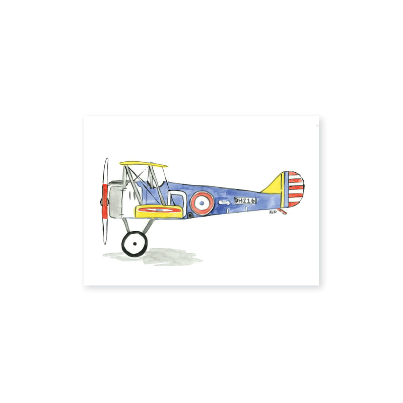 Weezie B. Designs | Biplane Watercolor Art Print 7x5