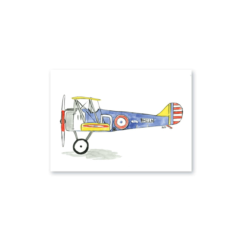 Weezie B. Designs | Biplane Watercolor Art Print 6x4