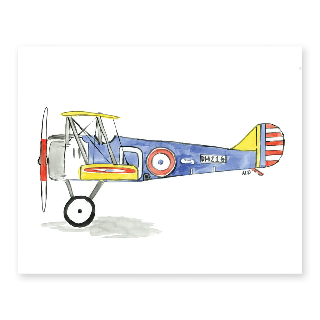 Weezie B. Designs | Biplane Watercolor Art Print 10x8