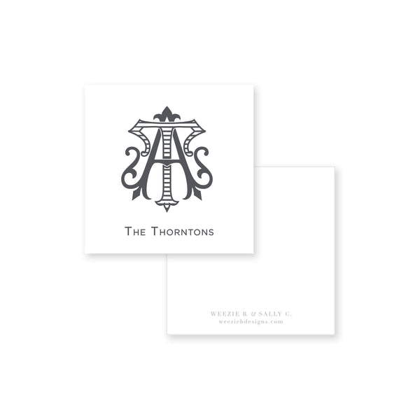 Two-Letter Intertwine Striped Calling Card