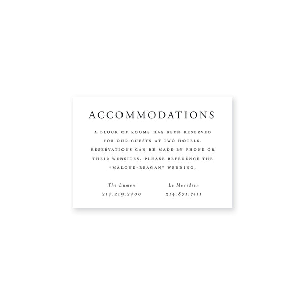 Malone Accommodations Insert Card