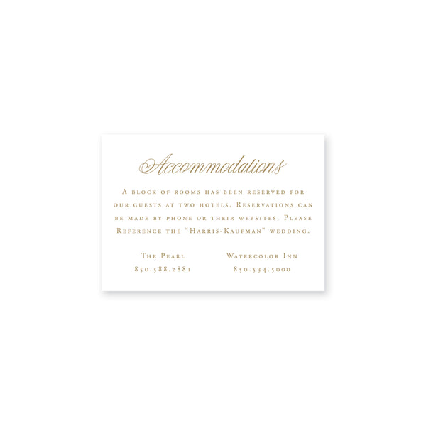Harris Accommodations Insert Card