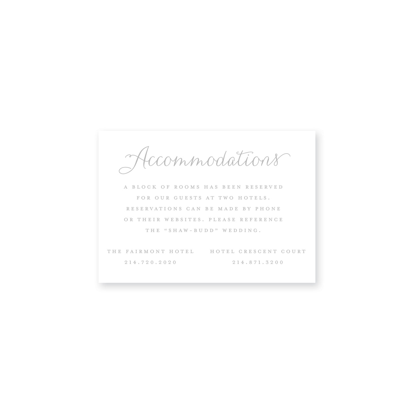 Shaw Accommodations Insert Card