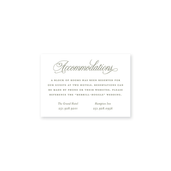 Mason Accommodations Insert Card