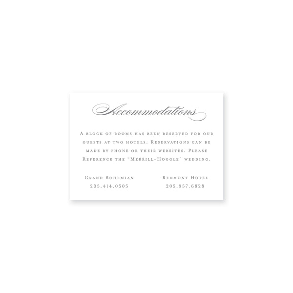 Merrill Accommodations Insert Card