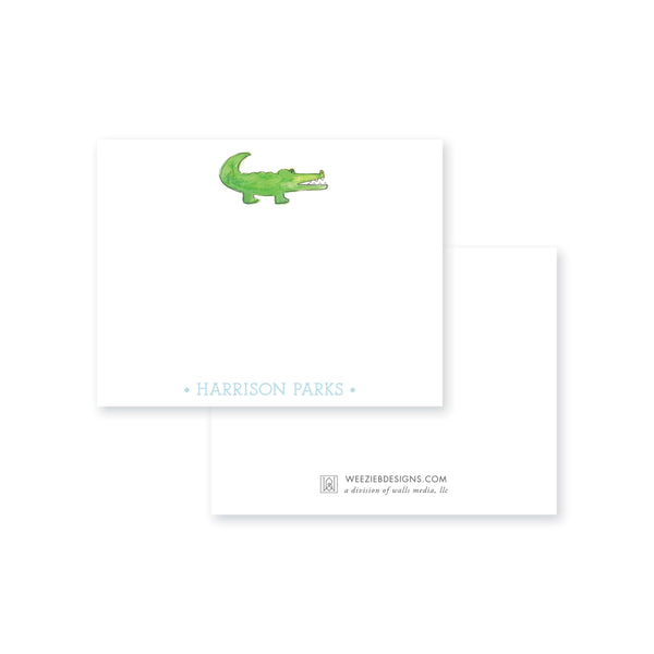 Weezie B. Designs | Watercolor Alligator Personalized Flat Note Cards