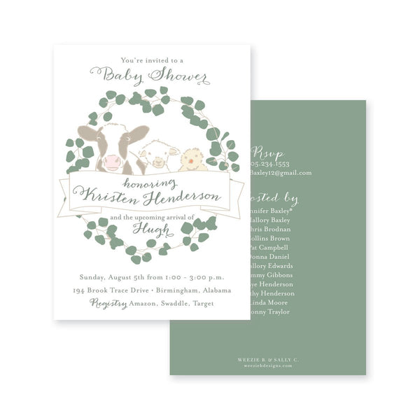 Weezie B. Designs | Baby Animals Eucalyptus Baby Shower Invitation