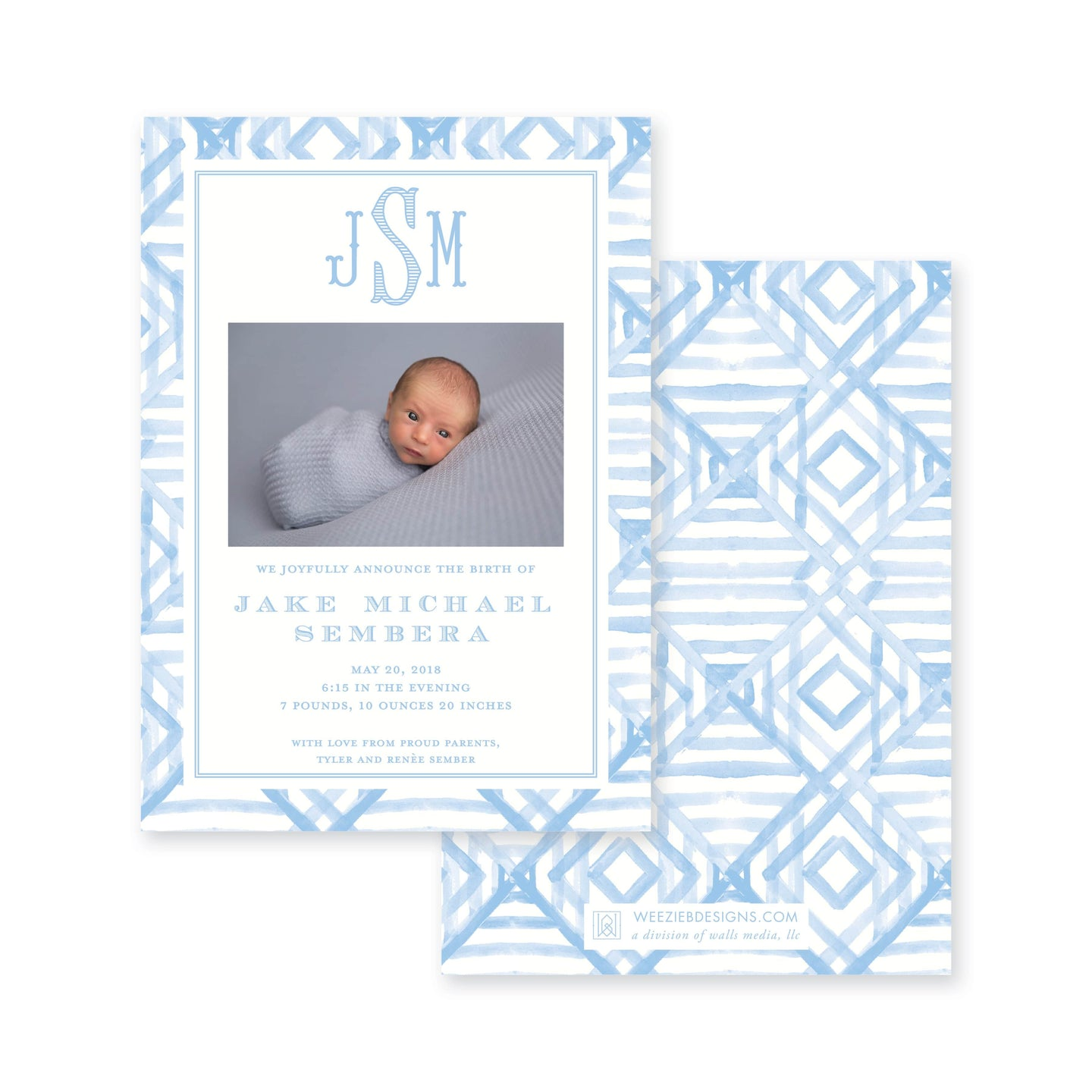 Weezie B. Designs | Watercolor Bamboo Birth Announcement