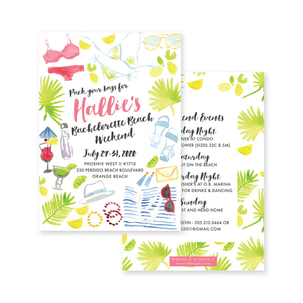 Weezie B. Designs | Watercolor Beachy Bachelorette