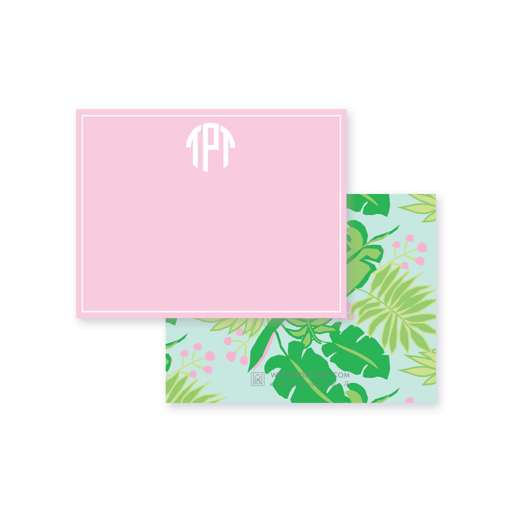 Weezie B. Designs | Bright & Tropical Personalized Flat Note Card