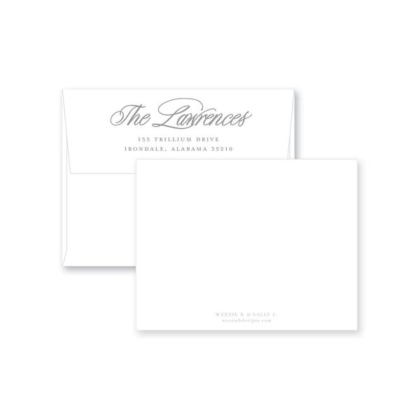 Brush Script Flat Note Card