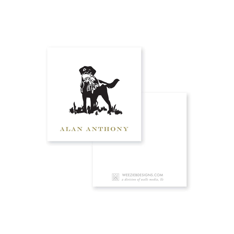 Weezie B. Designs | Sketched Dog with Bird Calling Card