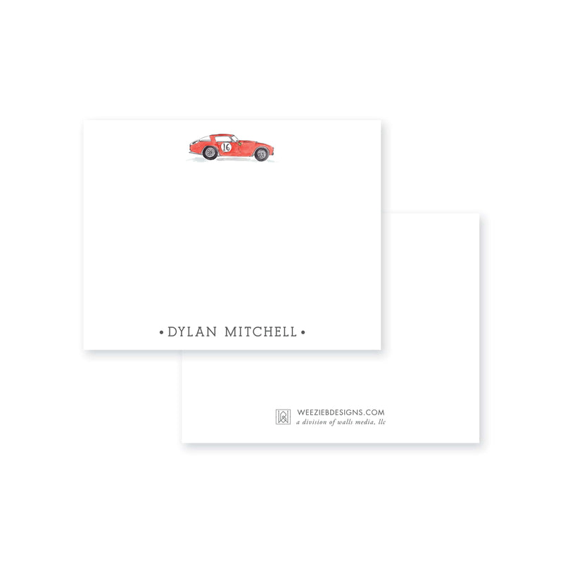 Weezie B. Designs | Watercolor Car Personalized Flat Note Cards