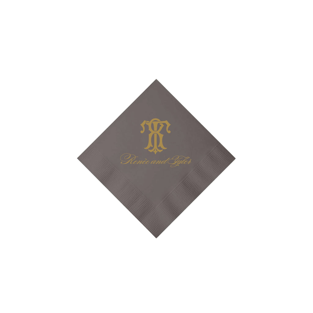 Weezie B. Designs | Classic Gray & Gold Personalized Napkins